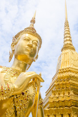 Golden Angel with Pagoda Wat Pra Kaeo, Thailand