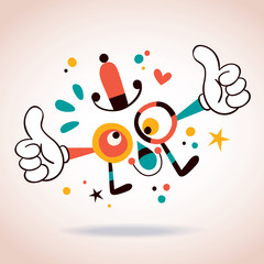 Abstract cartoon character mascot thumbs up
