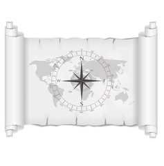 black and white map over parchment with compass rose vector