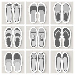 Set of nine woman shoes icons