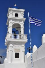 griechenland - Flagge und kirche