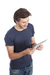 Top view of a man reading a tablet reader