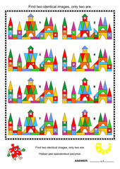 Visual puzzle - find two identical images of toy towns