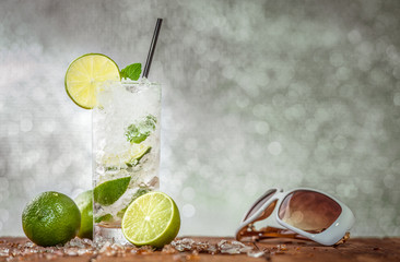 Ice cold lemon summer party drink