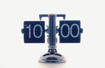 Clock showing 10 o'clock, white background