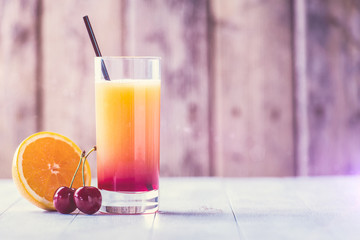 Colorful drink on a hot summer day