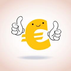 Euro sign thumbs up mascot cartoon character