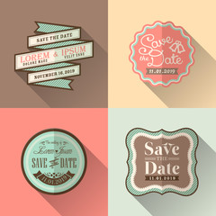 Retro Wedding frame flat design icon set for tag label sticker b