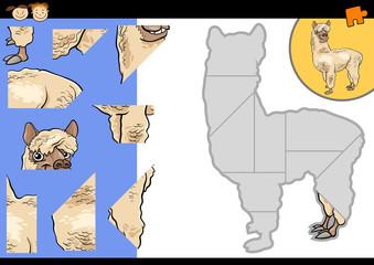 cartoon alpaca jigsaw puzzle game