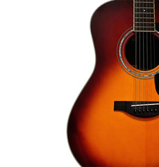 Sunburst Acoustic Guitar on White Background