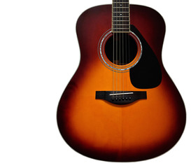 Sunburst Acoustic Guitar Body on White Background