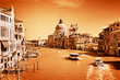 Venice, Italy. Grand Canal and the Salute basilica. Vintage