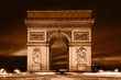 Arc de Triomphe, Paris, France. Vintage monochrome gold