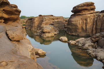 Landscape of rock and canyon at sam pan bok , Thailand