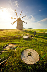 Traditional windmill on the countryside