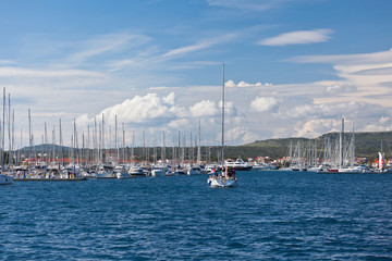 Yacht is entering in Marina Frapa, Rogoznica, Croatia