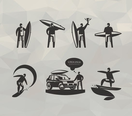 Surfing icons. Vector format