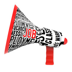 megaphone with written job