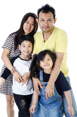 Happy Asian family  - isolated over white