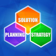 planning, solution, strategy in hexagons, flat design
