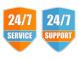 24/7 service and support, two labels