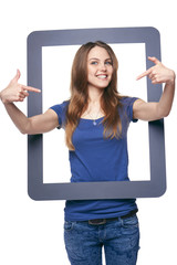 Woman holding tablet frame