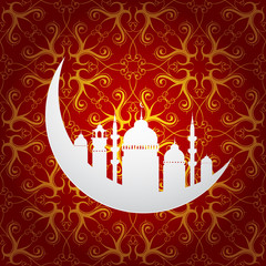 Ramadan holy month symbol with moon and mosque