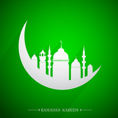 Islamic holy month Ramadan emblem with moon and mosque