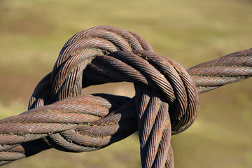 Steel rope, tied with a knot