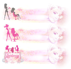 hairdressing salon icon - set of banners