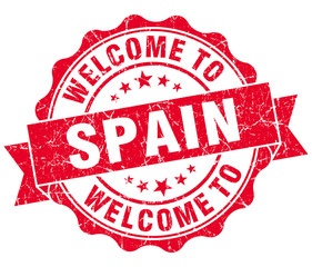 Welcome to Spain red grungy vintage isolated seal