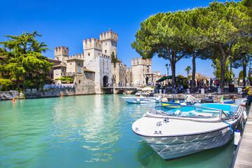 medieval castle  Sirmione on lake Lago di Garda
