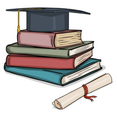 Vector Cartoon Academic Hat on Stack of Books and Diploma