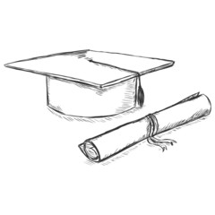 Vector Sketch Academic Hat and Diploma