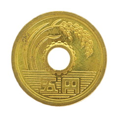 close - up 5 japanese yen coin isolated on white background