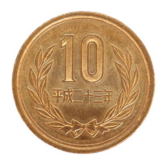 close - up 10 japanese yen coin isolated on white background