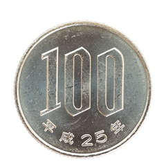close - up 100 japanese yen coin isolated on white background