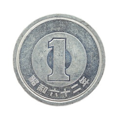 close - up 1 japanese yen coin isolated on white background