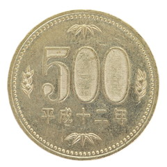 close - up 500 japanese yen coin isolated on white background