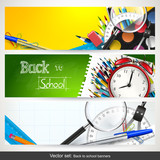 Fototapety Vector set of three back to school banners