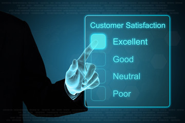business hand clicking customer satisfaction on touch screen