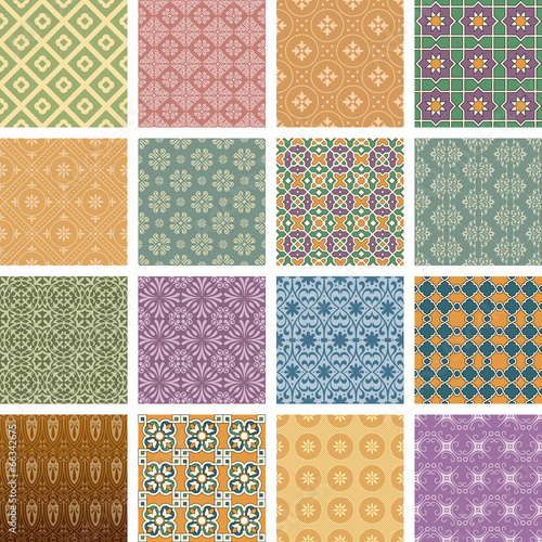Retro seamless patterns in color