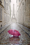 Fototapety Romantic alley on a rainy day.