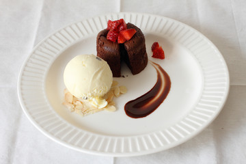 chocolate lava with ice cream