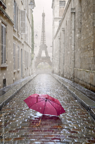 Romantic alley on a rainy day. - 66343013