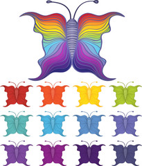 Set of cartoon butterflies in 12 different color schemes