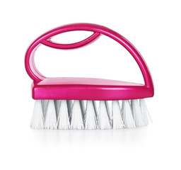 pink cleaning brush isolated on white background