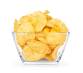 potato chips in a glass bowl on an isolated white background