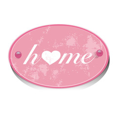 pink metall sign,home, heart,screws,isolated,vector