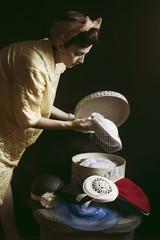 Beautiful vintage model portrait with hats